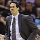 Miami Heat's Erik Spoelstra walks the sideline against the San Antonio Spurs during the first half at Game 4 of the NBA Finals basketball series, Thursday, June 13, 2013, in San Antonio. (AP Photo/Eric Gay)