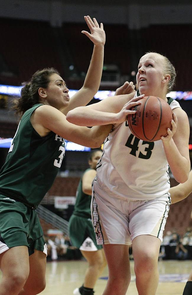 Cal Poly's Molly Schlemer, right, is defended by Hawaii's Kalei Adolpho during the second half of an NCAA college basketball game in the semifinals of the Big West Conference tournament on Friday, March 14, 2014, in Anaheim, Calif. Cal Poly won 66-52