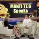 In this photo taken on Jan. 22, 2013 and released by ABC Notre Dame linebacker Manti Te'o, right, speaking with host Katie Couric during an interview for