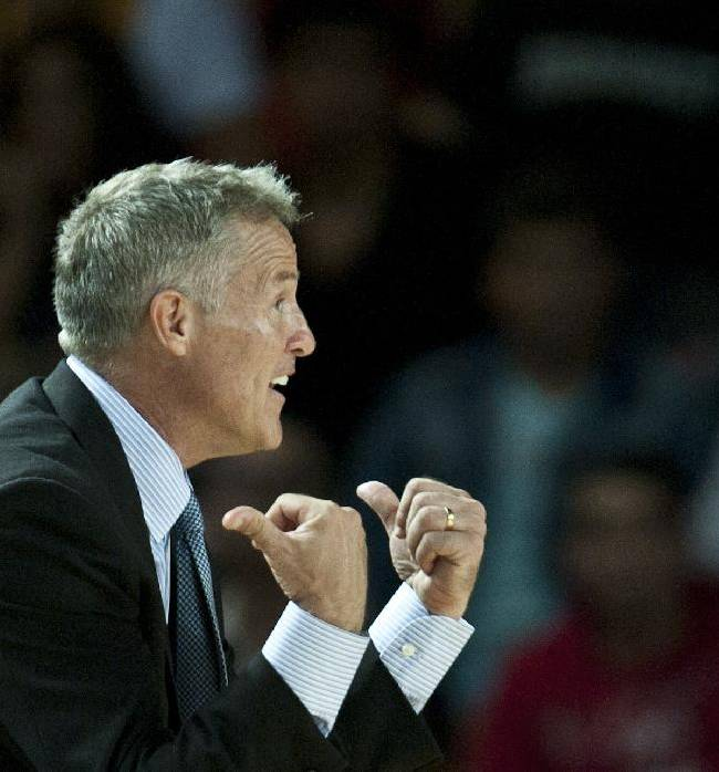 Philadelphia's 76ers head coach Brett Brown, gestures during the NBA Global basketball game against Bilbao Basket, in Bilbao northern Spain on Sunday, Oct. 6, 2013