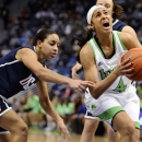 FILE - In this March 12, 2013, file photo, Notre Dame's Skylar Diggins (4) is fouled by Connecticut's Bria Hartley, left, in the first half of an NCAA college basketball game in the final of the Big East Conference tournament in Hartford, Conn. Notre Dame was announced Monday, March 18, to join Connecticut, Stanford and Baylor as a No. 1 seed in the women's tournament, marking the second straight season those four schools were the top seeds. (AP Photo/Jessica Hill, File)