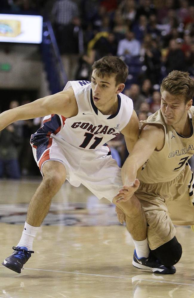 Gonzaga's David Stockton (11) and Oakland's Travis Bader (3) fight for a loose ball during the second half of an NCAA basketball game, in Spokane, Wash., on Sunday, Nov. 17, 2013. Gonzaga won 82-67