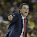 Louisville head coach Rick Pitino reacts to play against Wichita State during the first half of the NCAA Final Four tournament college basketball semifinal game Saturday, April 6, 2013, in Atlanta. (AP Photo/John Bazemore)