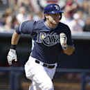 Tampa Bay Rays' Evan Longoria runs toward first as he grounds out off a pitch by Minnesota Twins pitcher Ricky Nolasco in the first inning of a spring exhibition baseball game on Sunday, March 2, 2014, in Port Charlotte, Fla The Associated Press