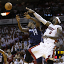 Miami Heat's LeBron James (6) and Charlotte Bobcats' Michael Kidd-Gilchrist (14) go for a rebound during the first half in Game 2 of an opening-round NBA basketball playoff series, Wednesday, April 23, 2014, in Miami The Associated Press