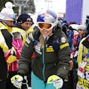 Lindsey Vonn, of United States, leaves as the women's World Cup super-G event was canceled due to fog, in Bansko, Bulgaria, Saturday, Feb. 28, 2015. (AP Photo/Giovanni Auletta)
