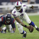 Buffalo Bills' EJ Manuel (3) looks to throw against the Houston Texans during the second quarter of an NFL football game, Sunday, Sept. 28, 2014, in Houston. (AP Photo/David J. Phillip)