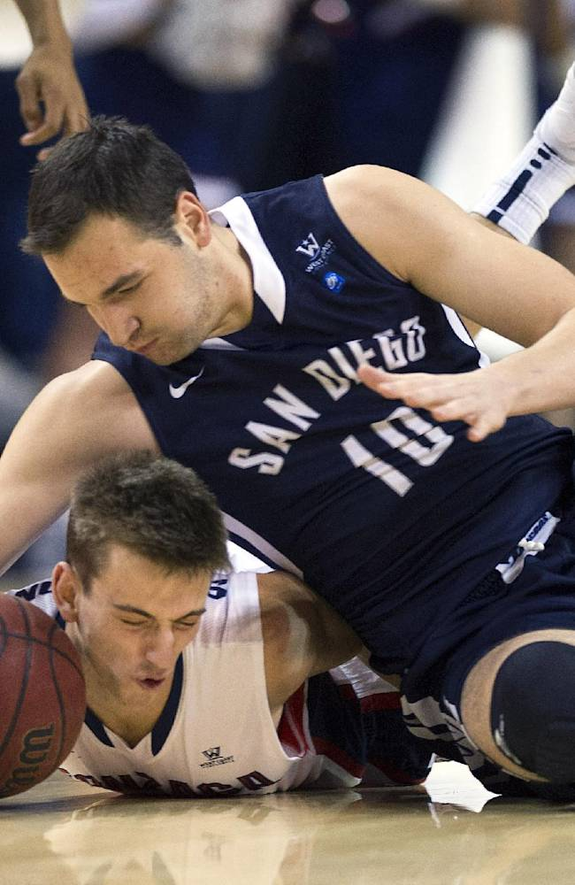 Gonzaga guard David Stockton (11) and San Diego guard Duda Sanadze (10) chase a loose ball during the first half of an NCAA college basketball game, Thursday, Jan. 23, 2014, at the McCarthey Athletic Center, in Spokane, Wash