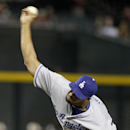 Los Angeles Dodgers' Kenley Jansen delivers a pitch against the Arizona Diamondbacks during the ninth inning of a MLB game on Saturday, April 12, 2014, in Phoenix. The Dodgers defeated the Diamondbacks 8-5 The Associated Press