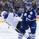 Toronto Maple Leafs forward Nikolai Kulemin (41) takes out St. Louis Blues Carlo Colaiacovo, left, during second period NHL hockey action in Toronto on Tuesday, March 25, 2014 The Associated Press