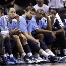 Memphis Grizzlies players sit on the bench during the second half in Game 1 of a Western Conference Finals NBA basketball playoff series against the San Antonio Spurs, Sunday, May 19, 2013, in San Antonio. The Spurs won 105-83. (AP Photo/Eric Gay)