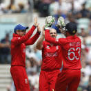 England's James Tredwell, center, celebrates his wicket of South Africa's Jean-Paul Duminy with teammates during their ICC Champions Trophy semifinal cricket match at the Oval cricket ground in London, Wednesday, June 19, 2013. (AP Photo/Sang Tan)