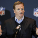 FILE - In this March 26, 2014, file photo, NFL Commissioner Roger Goodell answers questions during a news conference in Orlando, Fla. Former U.S. District Judge Barbara S. Jones has been appointed to hear Ray Rice's appeal of the indefinite suspension handed down by the NFL. Commissioner Goodell announced the appointment Thursday, Oct. 2, 2014, after consulting with DeMaurice Smith, the players' union executive director. (AP Photo/John Raoux, File)