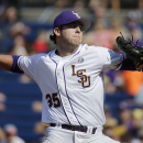 LSU pitcher Alex Lange delivers against Florida during the first inning of a Southeastern Conference college baseball tournament game Saturday, May 23, 2015, in Hoover, Ala. (AP Photo/Brynn Anderson)