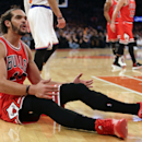 Chicago Bulls' Joakim Noah reacts to a call during the first half of an NBA basketball game against the New York Knicks, Wednesday, Oct. 29, 2014, in New York. (AP Photo/Frank Franklin II)