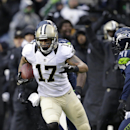 New Orleans Saints wide receiver Robert Meachem (17) against the Seattle Seahawks during an NFC divisional playoff NFL football game in Seattle, Saturday, Jan. 11, 2014. (AP Photo/Elaine Thompson)