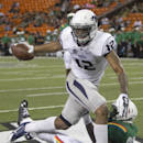 Nevada wide receiver Hasaan Henderson (12) pulls in a fourth quarter touchdown over Hawaii defensive back Nick Nelson (20) at the NCAA college football game, Saturday, Oct. 25, 2014, in Honolulu. Nevada defeated Hawaii 26-18 The Associated Press