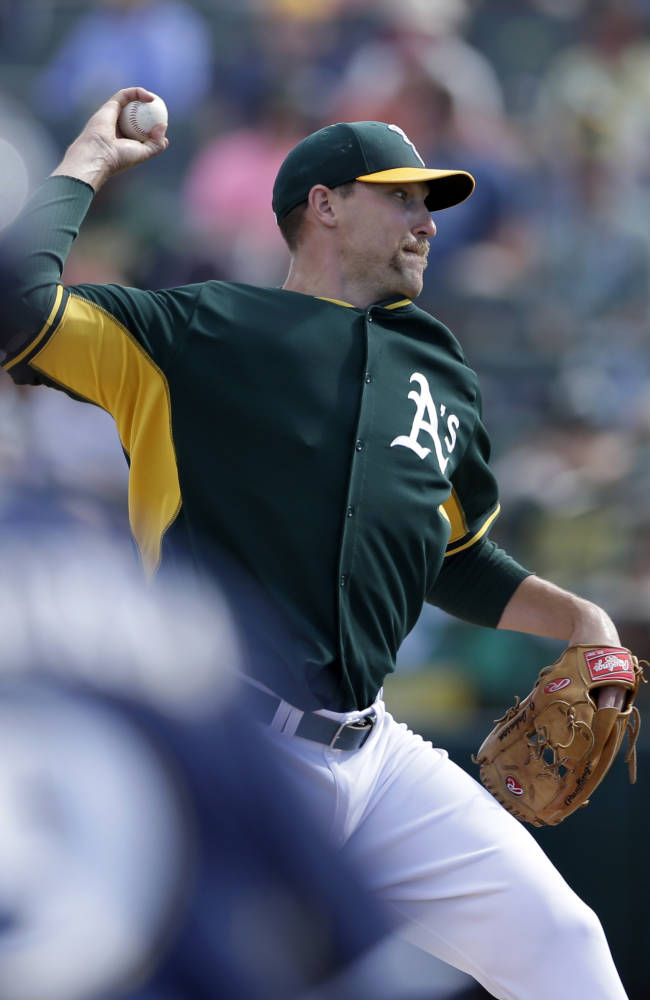 Oakland Athletics relief pitcher Jim Johnson throws against the Milwaukee Brewers during the fourth inning of a spring training baseball game, Thursday, Feb. 27, 2014, in Scottsdale, Ariz