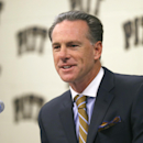 Pittsburgh men's basketball coach Jamie Dixon talks to reporters in an interview session during the NCAA college basketball team's annual media day, Thursday, Sept. 26, 2013, in Pittsburgh. Dixon says the Panthers aren't going to change much now that they've moved from the Big East to the Atlantic Coast Conference. (AP Photo/Keith Srakocic)