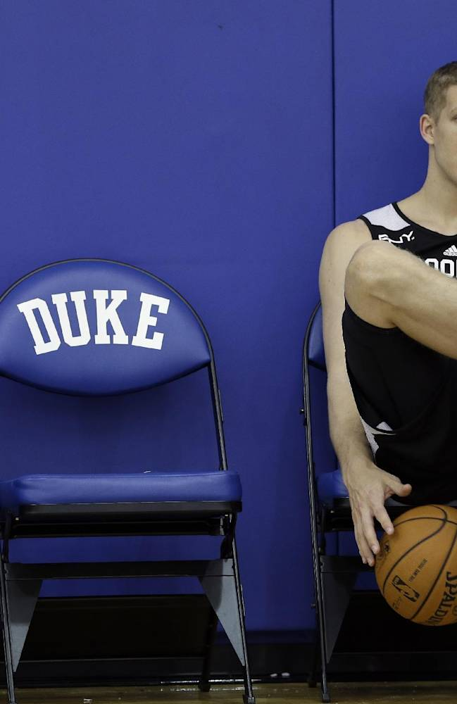 Brooklyn Nets' Mason Plumlee, a and former Duke player, dribbles the ball as he waits during NBA basketball training camp at Duke University in Durham, N.C., Wednesday, Oct. 2, 2013