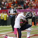 Chicago Bears wide receiver Josh Morgan (19) celebrates his touchdown against the Atlanta Falcons during the first half of an NFL football game, Sunday, Oct. 12, 2014, in Atlanta The Associated Press