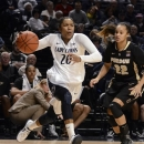 Penn State's Alex Bentley (20) heads into the paint past Purdue's KK Houser (22) during the first half of an NCAA college basketball game in State College, Pa., Monday, Feb. 4, 2013. (AP Photo/Ralph Wilson)