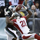Arizona Cardinals' Patrick Peterson, right, breaks up a pass intended for Philadelphia Eagles' DeSean Jackson during the first half of an NFL football game, Sunday, Dec. 1, 2013, in Philadelphia The Associated Press
