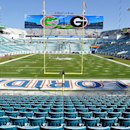 Grounds crew put the finishing touches on field for the annual Florida-Georgia NCAA college football game at EverBank field on Friday, Oct. 31, 2014, in Jacksonville, Florida The Associated Press