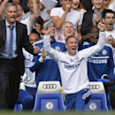 Chelsea's manager Jose Mourinho reacts during their English Premier League soccer match against Hull City at Stamford Bridge in London August 18, 2013. REUTERS/Toby Melville