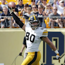 Iowa tight end Henry Krieger Coble (80) celebrates after catching a pass in the endzone for a first-quarter touchdown during an NCAA college football game against Pittsburgh in Pittsburgh, Saturday, Sept. 20, 2014 The Associated Press