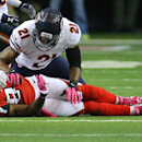 Chicago Bears safety Ryan Mundy(21) levels Atlanta Falcons wide receiver Roddy White knocking the ball lose for an incomplete pass during the second quarter in their football game on Sunday, Oct. 12, 2014, in Atlanta The Associated Press