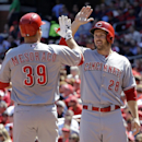 Cincinnati Reds' Devin Mesoraco, left, is congratulated by teammate Chris Heisey after hitting a two-run home run during the fourth inning of a baseball game against the St. Louis Cardinals Wednesday, April 9, 2014, in St. Louis The Associated Press