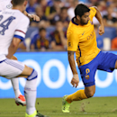 FC Barcelona forward Luis Suárez (9) in action against Chelsea FC defender Gary Cahill (24) on Tuesday,July,28,2015, in Landover, Maryland. Chelsea and FC Barcelona face off at the 2015 International Champions Cup. Damian Strohmeyer/AP Images for Interna