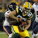 Green Bay Packers wide receiver Jordy Nelson (87) is tackled by Chicago Bears cornerback Tim Jennings (26) during the first half of an NFL football game Sunday, Nov. 9, 2014, in Green Bay, Wis The Associated Press