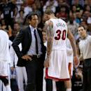 MIAMI, FL - FEBRUARY 28: Head coach Erik Spoelstra of the Miami Heat talks with Michael Beasley #30 during a game against the Atlanta Hawks at American Airlines Arena on February 28, 2015 in Miami, Florida. NOTE TO USER: User expressly acknowledges and agrees that, by downloading and/or using this photograph, user is consenting to the terms and conditions of the Getty Images License Agreement. Mandatory copyright notice:  (Photo by Mike Ehrmann/Getty Images)