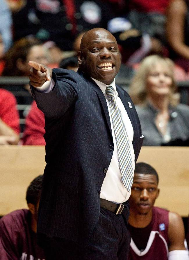 Alabama A&M head coach Willie Hayes reacts in the first half against New Mexico in an NCAA basketball game in Albuquerque, N.M., Saturday, Nov. 9, 2013. New Mexico won 88-52