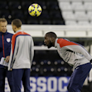 The U.S. national soccer team player Jozy Altidore, who will captain the match tomorrow, takes part in a training session at Fulham's Craven Cottage stadium in London, Thursday, Nov. 13, 2014. The U.S. are due to play Colombia in an international friendl