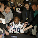 New England Patriots running back LeGarrette Blount (29) is interviewed during a news conference Wednesday, Jan. 28, 2015, in Chandler, Ariz. The Patriots play the Seattle Seahawks in NFL football Super Bowl XLIX Sunday, Feb. 1, in Phoenix The Associated