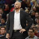 Brooklyn Nets coach Jason Kidd watches his team during the first quarter of an NBA basketball game against the Denver Nuggets in Denver on Thursday, Feb. 27, 2014 The Associated Press