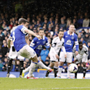 Everton's Leighton Baines scores their first goalof the game from the penalty spot, during their English Premier League soccer match against Swansea City at Goodison Park, Liverpool, England, Saturday, March 22, 2014. (AP photo/Peter Byrne, PA Wire)