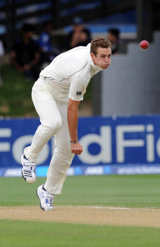 New Zealand's Tim Southee bowls against New Zealand on the third day of the second International cricket match, Basin Reserve, Wellington, New Zealand, Friday, Dec. 13, 2013