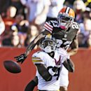 Cleveland Browns cornerback Joe Haden (23) breaks up a pass in the end zone against Pittsburgh Steelers wide receiver Antonio Brown (84) in the fourth quarter of an NFL football game Sunday, Oct. 12, 2014, in Cleveland The Associated Press