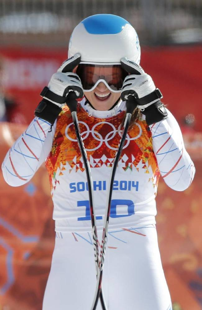 United States' Julia Mancuso takes off her goggles after a women's downhill training run for the Sochi 2014 Winter Olympics, Friday, Feb. 7, 2014, in Krasnaya Polyana, Russia