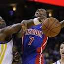 Golden State Warriors' Jermaine O'Neal, left, blocks the shot of Detroit Pistons' Brandon Jennings (7) during the first half of an NBA basketball game on Tuesday, Nov. 12, 2013, in Oakland, Calif The Associated Press