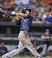 Tampa Bay Rays' Matt Joyce follows through on a sacrifice fly against the Baltimore Orioles in the third inning of a baseball game, Tuesday, Aug. 20, 2013 in Baltimore.(AP Photo/Gail Burton)