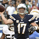 San Diego Chargers quarterback Philip Rivers throws a pass against the Oakland Raiders during the second half of an NFL football game Sunday, Nov. 16, 2014, in San Diego. (AP Photo/Denis Poroy)