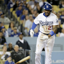 Los Angeles Dodgers' Matt Kemp slams his bat down after flying out against the Arizona Diamondbacks during sixth inning of a baseball game in Los Angeles, Friday, April 18, 2014 The Associated Press