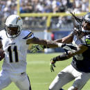 San Diego Chargers wide receiver Eddie Royal, left, pushes off Seattle Seahawks cornerback Richard Sherman during the second half of an NFL football game on Sunday, Sept. 14, 2014, in San Diego. (AP Photo/Denis Poroy)