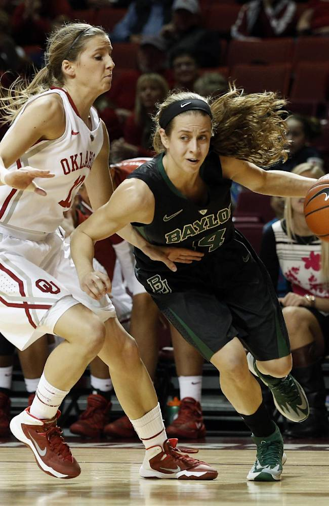 Baylor's Makenzie Robertson (14) drives the ball past Oklahoma's Morgan Hook (10) during the first half of an NCAA college basketball game in Norman, Okla., Feb. 3, 2014