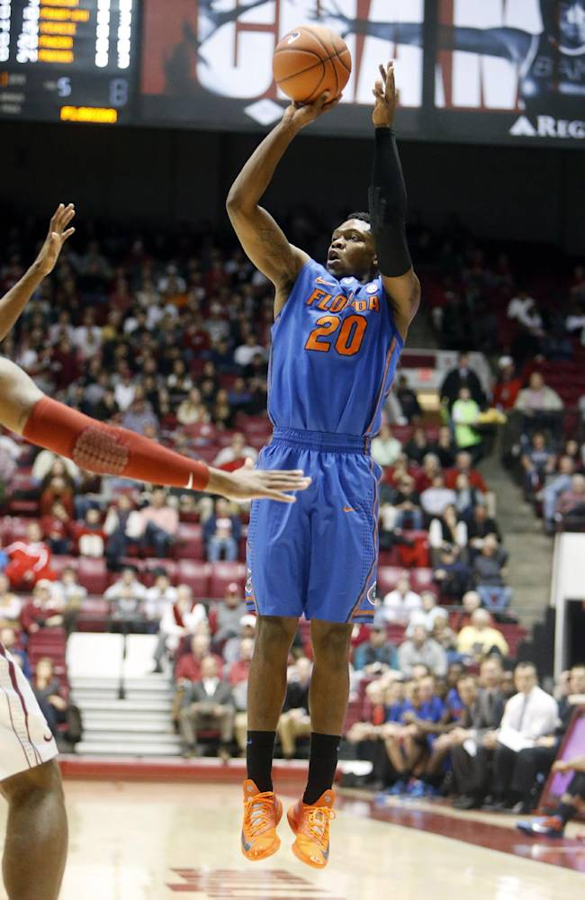 Florida guard Michael Frazier II (20) takes a shot during the first half of an NCAA college basketball game  against Alabama at Coleman Coliseum in Tuscaloosa, Ala., Thursday, Jan. 23, 2014. Florida defeated Alabama 68-62. Frazier made five 3-pointers